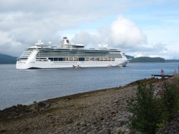 "Royal Caribbean Cruise Ship ""Serenade of the Seas"" anchored in harbor of Icy Point Strait,  Alaska"