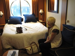 "My wife relaxing in cabin aboard Royal Caribbean cruise ship ""Serenade of the Seas"""