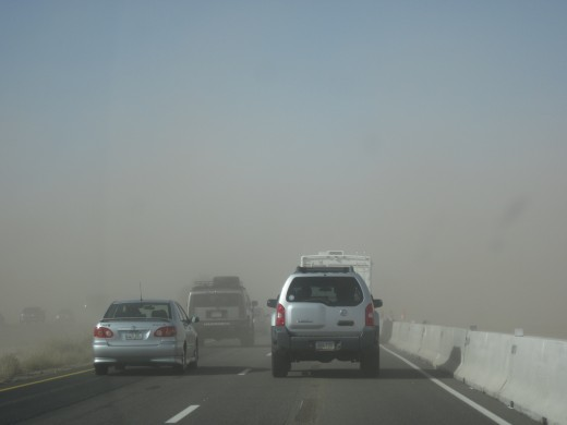 Entering dust storm