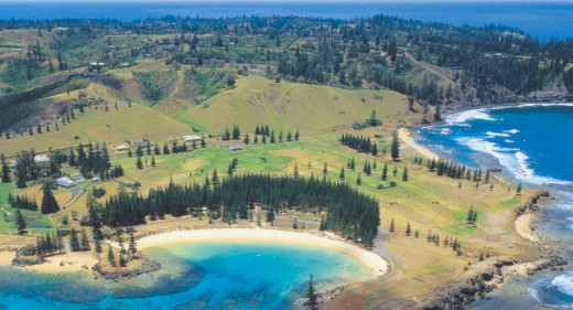 Panoramic view of Norfolk Island beaches.