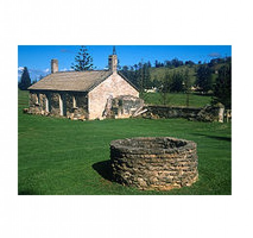 Old homestead and well on Norfolk Island