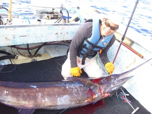 150lb Blue Marlin caught 30 miles out of Hilo Harbor on a private FAD buoy.