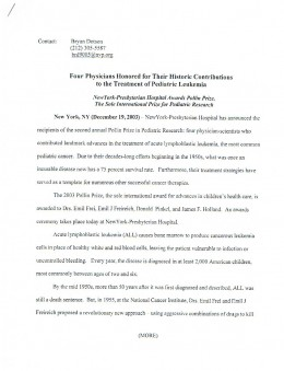 The media release about the second Pollin Prize.