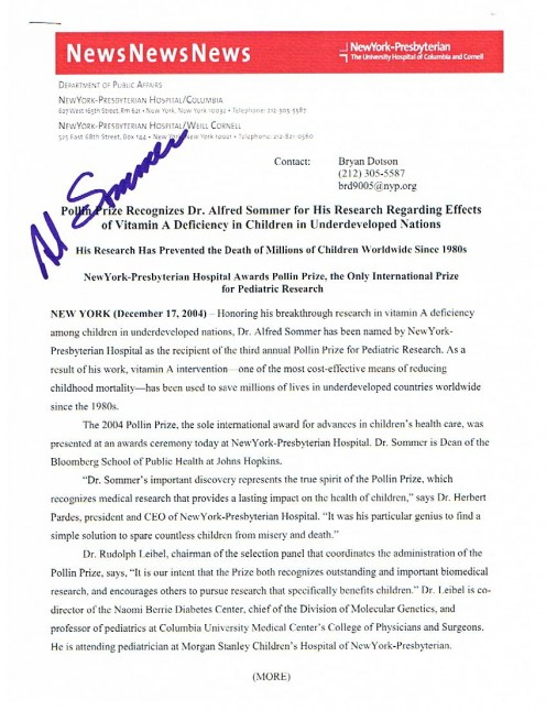 A news release with the autograph of Pollin Prize winner, Dr. Alfred Sommer.