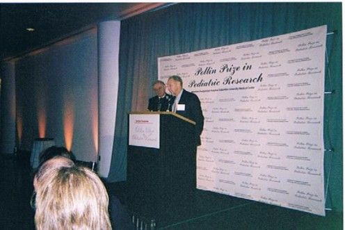 An image of Abe Pollin speaking during the luncheon portion of the third Pollin Prize.