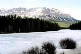 Castle mountain in between the town of Banff and Lake Louise.