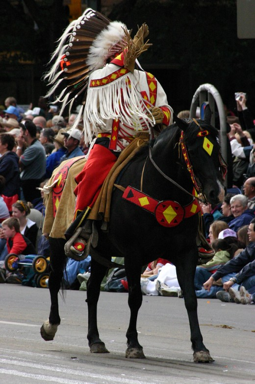 The First Nations peoples play a major role in the Stampede, with a traditional village, ceremonial dancing and parades.