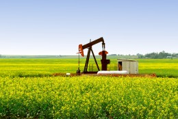Pump jack in southern Alberta -- a common sight throughout the province.