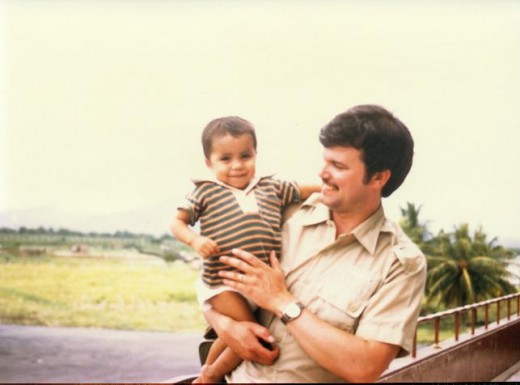 At the San Pedro Sula, Honduras Airport with my new son April 15, 1985