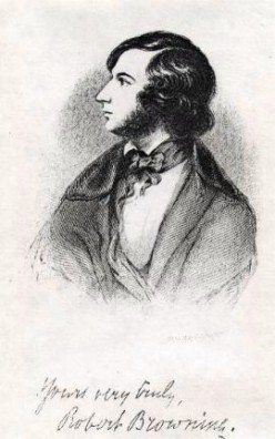 Signed drawing of Robert Browning