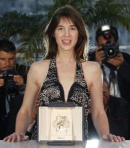 Born in the Uk, but living in France, Charlotte is happily married with a son and daughter. Here accepting her Award in 2009 at Cannes. Now part of the Movie Hall of fame.