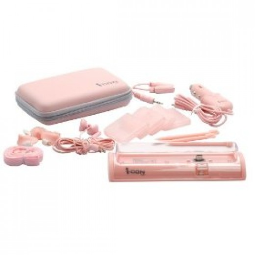 Pink Nintendo case and accessories
