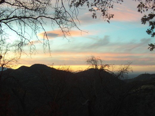 The San Bernardino Mountains are beautiful at sunset.