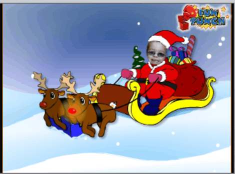 Flying Santa's sleigh at Fun Punch