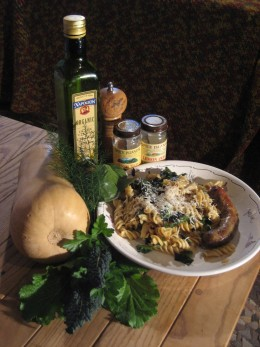 Pasta with Squash, Sausage, and Winter Greens