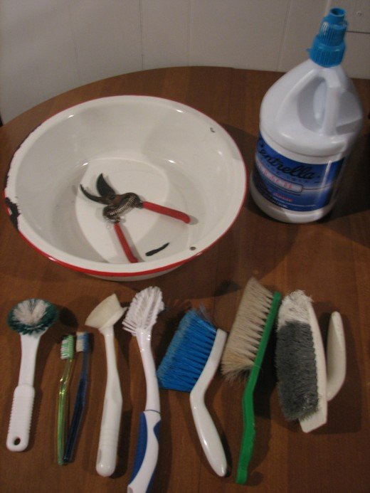 A Deep Pan,an assortment of brushes,bleach,hand pruning shears