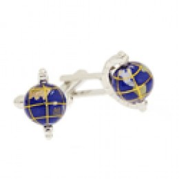 Globe Cuff Link in Silvertone and Royal Blue