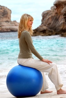 Note the great posture you get from sitting on the ball...