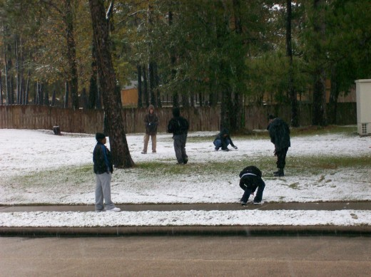 Children at play in the snow.