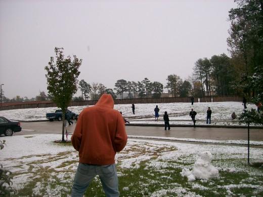 Gathering the snow.