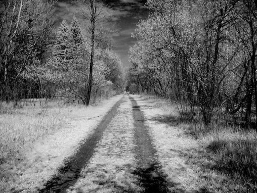 old road with infrared