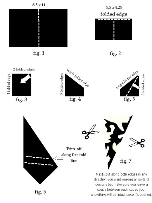 Directions for folding and cutting paper for snowflakes