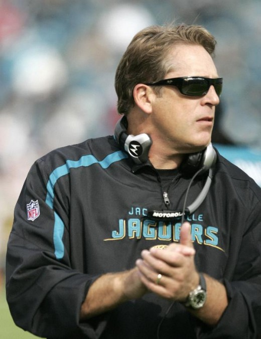 Jack Del Rio during a NFL football game against the Houston Texans, Sunday, Dec. 6, 2009, in Jacksonville, Fla.(AP Photo/Steve Cannon)