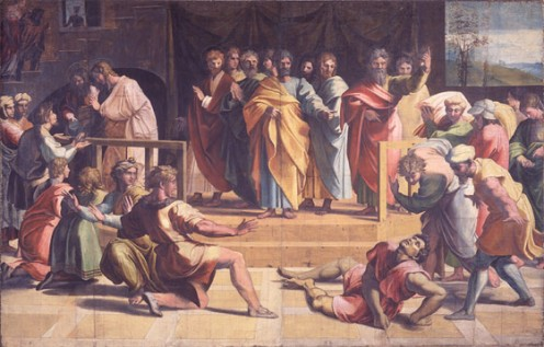 Bodycolour on paper mounted onto canvas (tapestry carton) 304 x 503 cm  Lent by H.M. The Queen Raphael, The Death of Ananias 1515-16