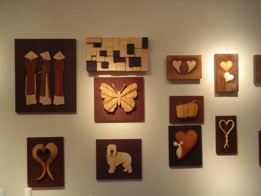 Beautiful wooden wall hanging at Gamla Linkoping woodcraft shop