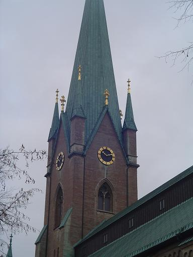 300ft high clock tower of Linkoping Cathedral
