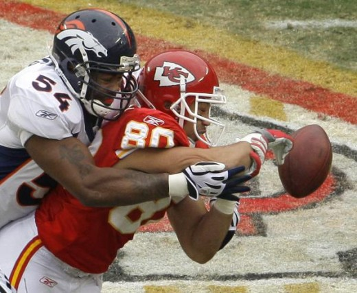 Denver Broncos #54 Andra Davis breaks up a pass intended for Kansas City Chiefs #80 Bobby Wade (80) during the first quarter of an NFL football game Sunday, Dec. 6, 2009 in Kansas City, Mo. (AP Photo/Charlie Riedel)