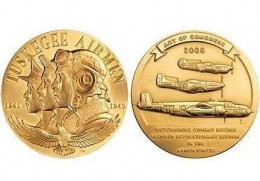 The special Congressional Gold Medal for 2006, presented to each of the 300 Tuskegee Airmen at the US Capitol.