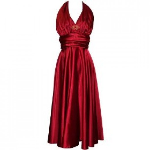 Marilyn Satin Halter Dress Plus Size Holiday Gown with deco rhinestone jewelled accent