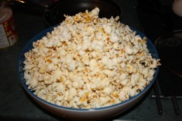 Stove Popped is my personal preference. Here is the popcorn before we coat it with delicious sugar!
