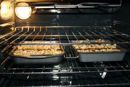 Popcorn baking in the oven.