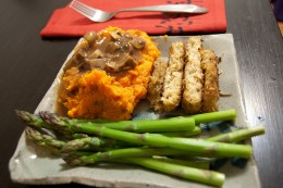 Vegetarian meal - sweet potatoes with mushroom sauce http://www.flickr.com/photos/concrete_ocean/3390771195/