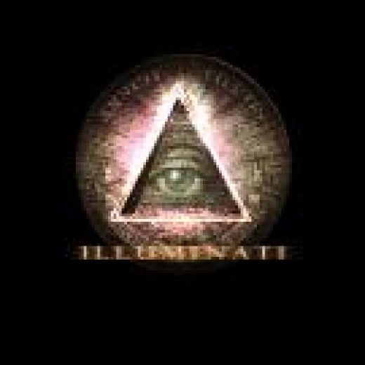 A symbol of the Illuminati (pyramid with all-seeing eye and also seen on the backside of the one-dollar bill)