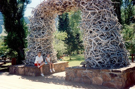 One of four arches made up of elk horns in the center of town.