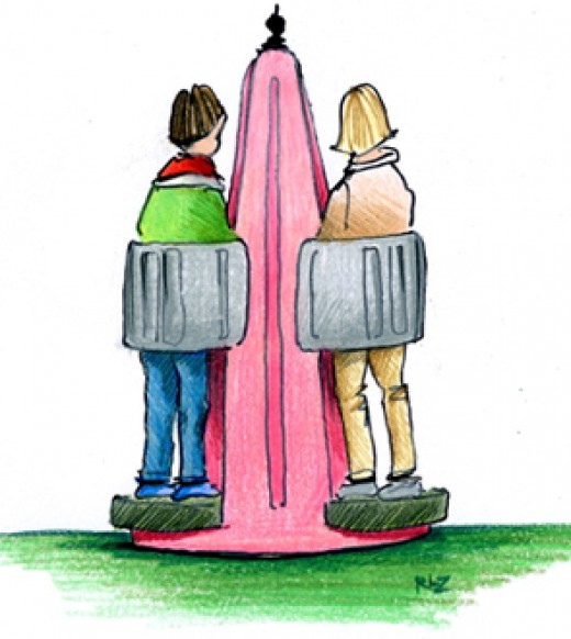 Believe it or not: a stand-up open-air pissoir for women, in fashionable pink and gray, developed by the Dutch