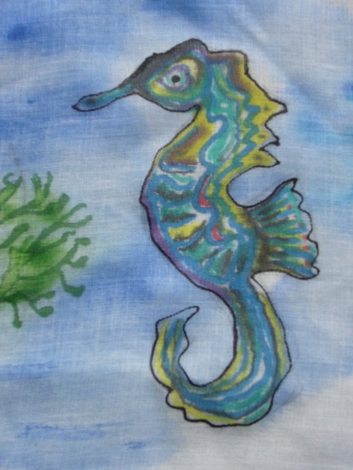 textile painting sea horse.  You could decorate your bag with fabric paints -