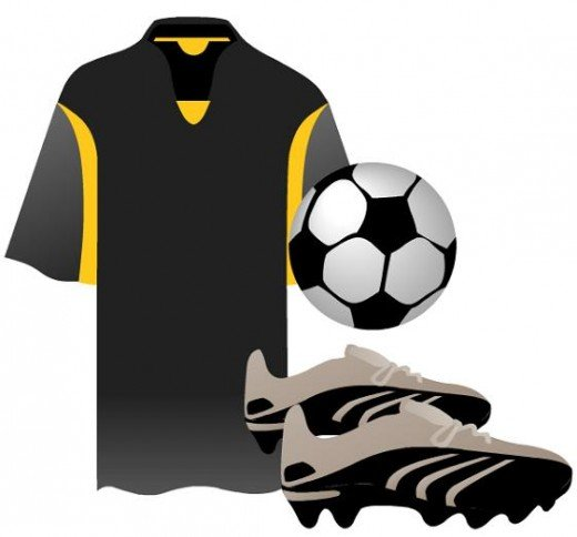 Black soccer shirt, ball and shoes clip art