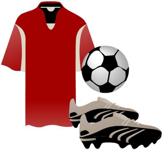 Red soccer shirt, ball and shoes clip art