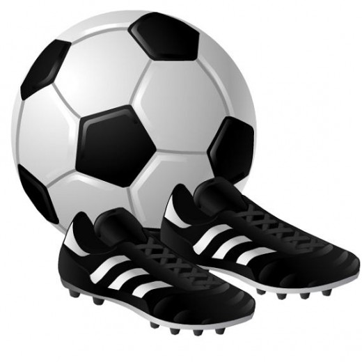 Soccer ball and shoes clip art
