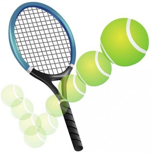Tennis racket and bouncing tennis ball clipart