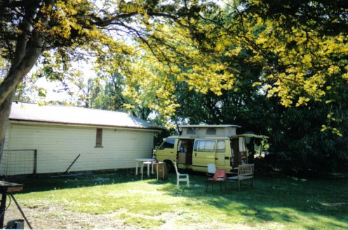 My Campervan under the Leopard Tree in Trevor's Backyard