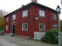 Old bank at the main entrance of Gamla Linkoping