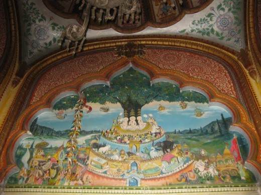 Sermon of Lord Mahavira. Wall painting in Mahavira Swami temple, Kolkata
