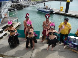 Our official welcome before the fatal harbour swim
