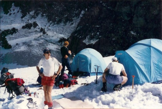 Base camp on Ingraham Flats & below Gibralter.