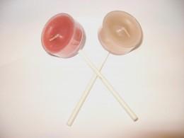 Step 1: glue on sticks to back of tea light